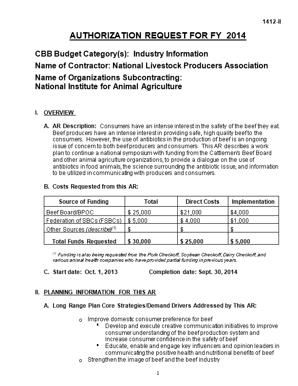 CBB Budget Category(S): Industry Information