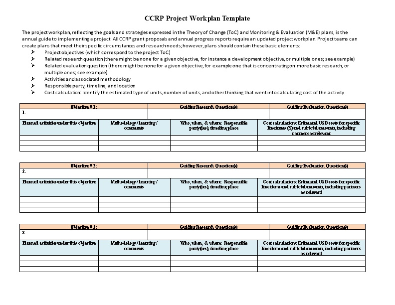 CCRP Project Workplan Template