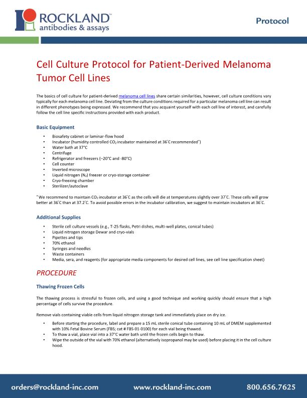 Cell Culture Protocol for Patient-Derived Melanoma Tumor Cell Lines