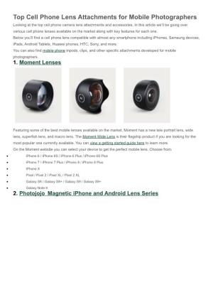 Cell Phone Lens Attachments for Mobile Photographers
