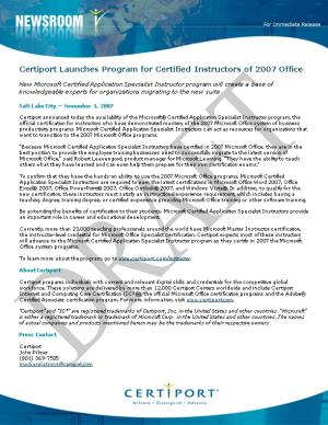 Certiport Launches Program for Certified Instructors of 2007 Office