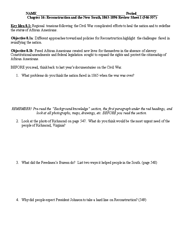 Chapter 16: Reconstruction and the New South, 1863-1896 Review Sheet 1