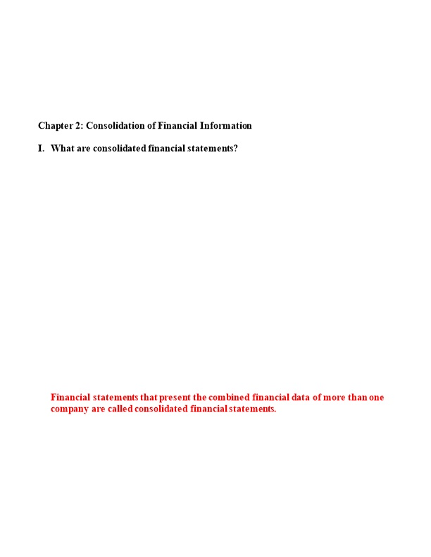 Chapter 2: Consolidation of Financial Information
