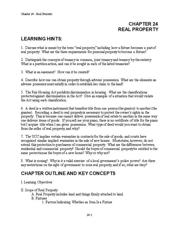 Chapter 24 - Real Property