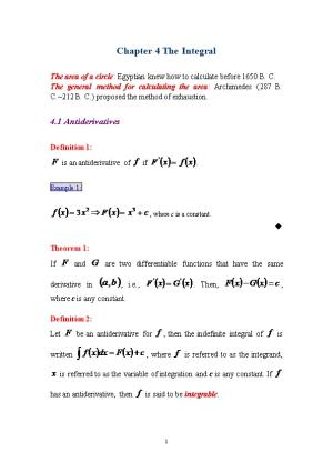 Chapter 4 the Integral