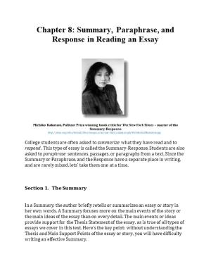 Chapter 8: Summary, Paraphrase, and Response in Reading an Essay