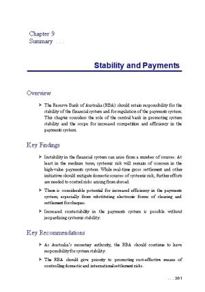 Chapter 9: Stability and Payments