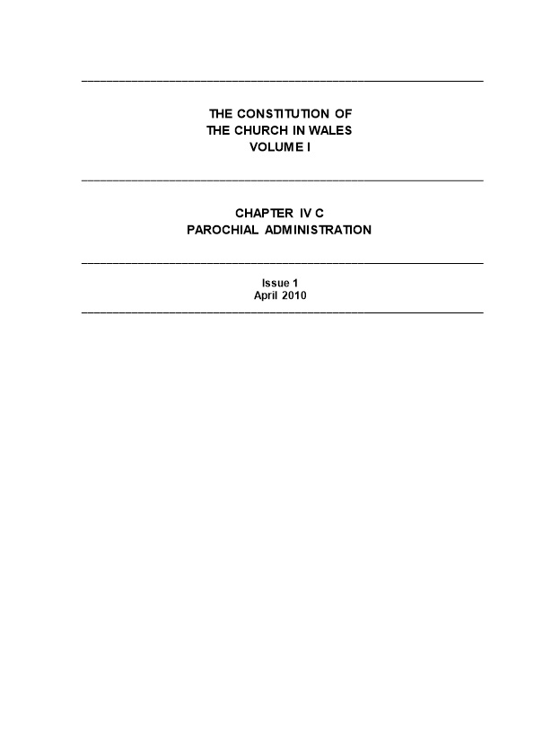 Chapter IV C - Parochial Administration
