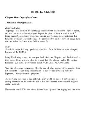 Chapter One: Copyright Cases