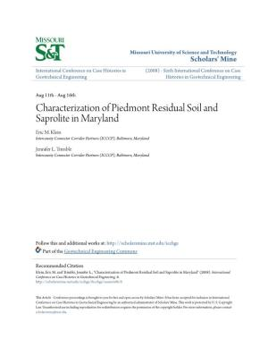 Characterization of Piedmont Residual Soil and Saprolite in Maryland