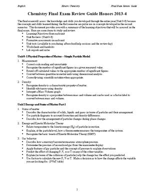 Chemistry Final Exam Review Topics Honor 2008-09