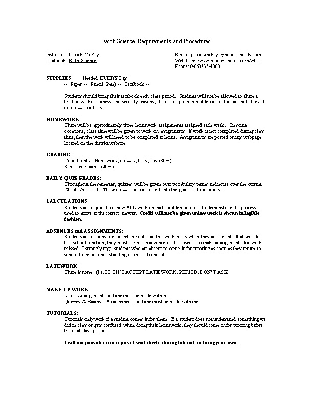 Chemistry I Requirements and Procedures