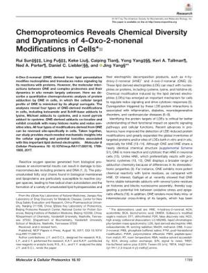 Chemoproteomics Reveals Chemical Diversity and Dynamics of 4-Oxo-2-Nonenal Modifications in Cells*