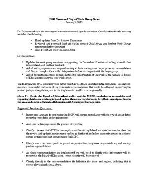 Child Abuse and Neglect Work Group Notes