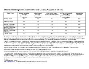 Child Nutrition Program Decision Grid for Early Learning Programs in Schools
