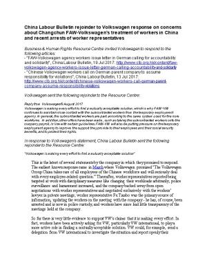 China Labour Bulletin Rejoinder to Volkswagen Response on Concerns About Changchun