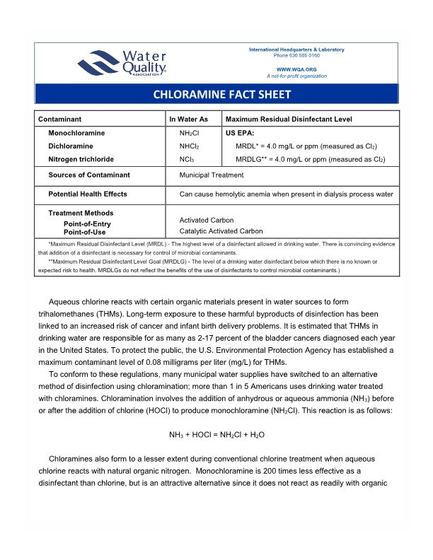 Chloramine Fact Sheet
