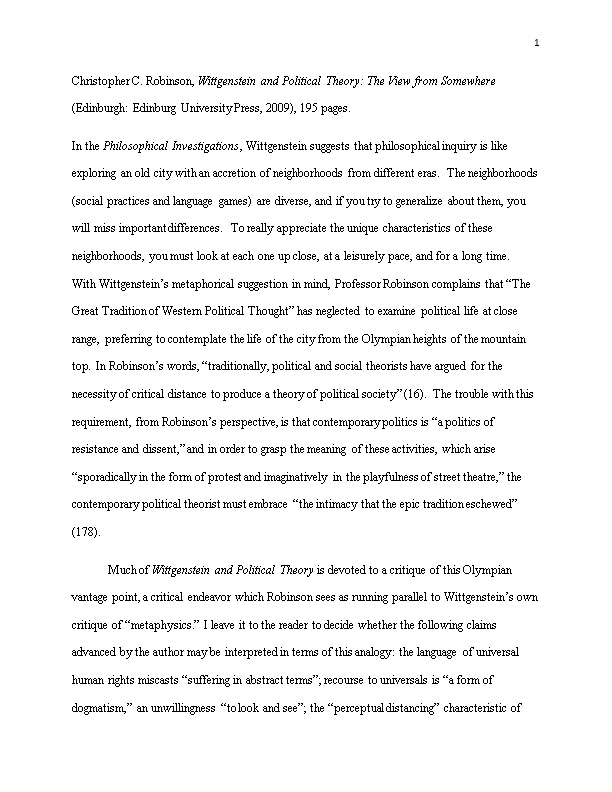 Christopher C. Robinson, Wittgenstein and Political Theory: the View from Somewhere (Edinburgh