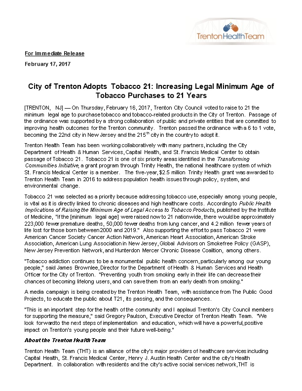 City of Trenton Adopts Tobacco 21: Increasing Legal Minimum Age of Tobacco Purchases To