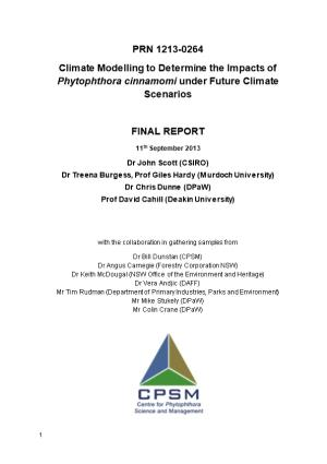 Climate Modelling to Determine the Impacts of Phytophthora Cinnamomi Under Future Climate
