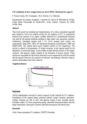 CO Oxidation at Low Temperature on Au/Cepo4: Mechanistic Aspects
