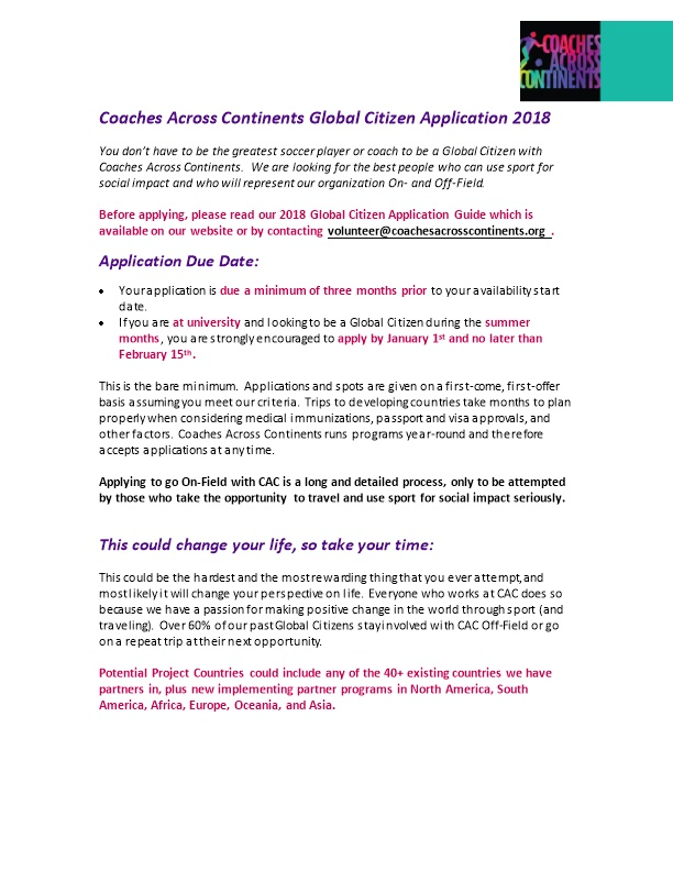 Coaches Across Continents Global Citizen Application 2018