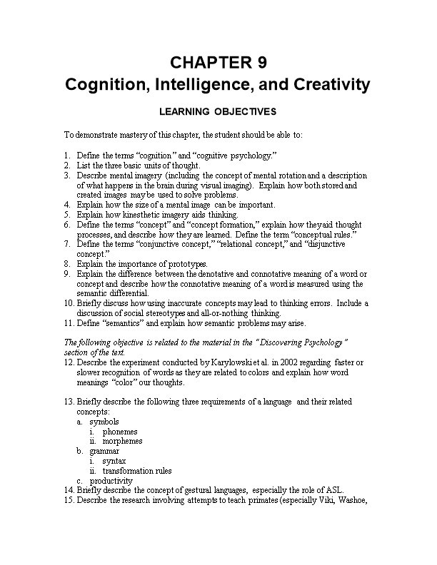 Cognition, Intelligence, and Creativity