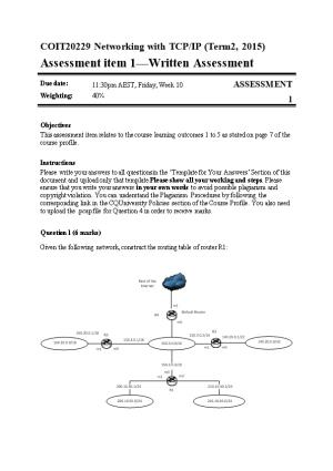 COIT20229 Networking with TCP/IP (Term2, 2015)