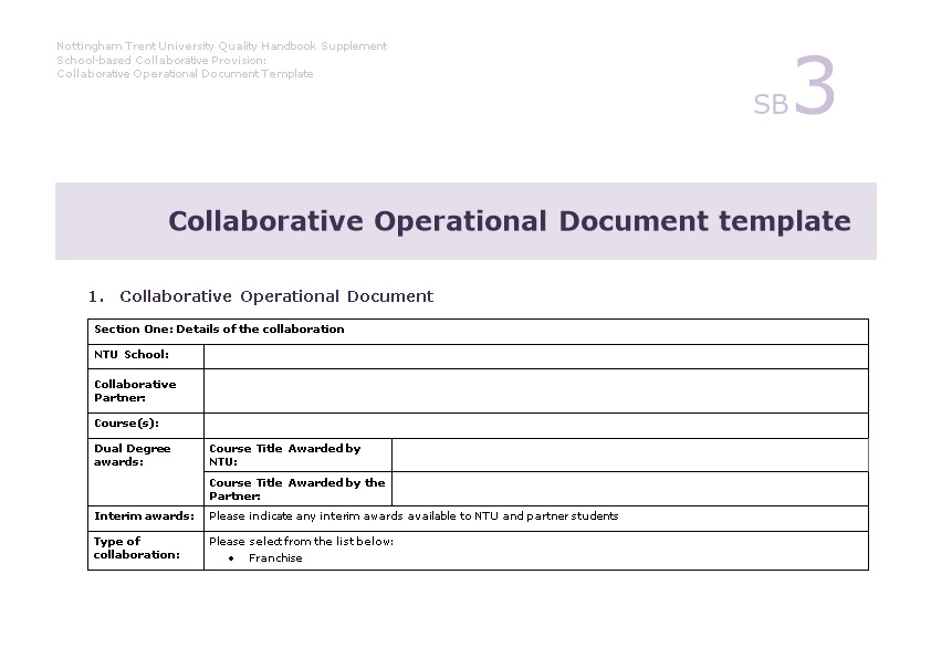 Collaborative Operational Document Template
