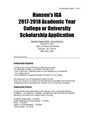 College Or University Scholarship Application