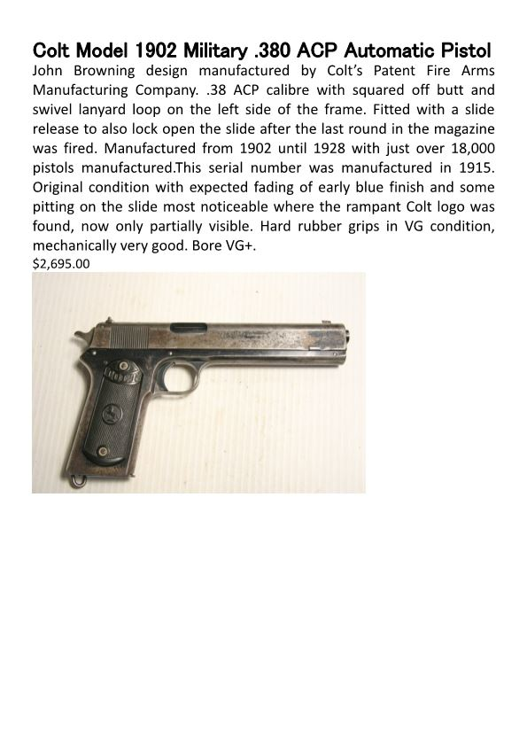 Colt Model 1902 Military .380 ACP Automatic Pistol