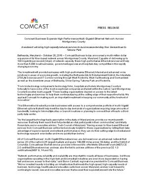 Comcast Business Expands High-Performance Multi-Gigabit Ethernet Network Across Montgomery