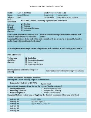 Common Core State Standards Lesson Plan
