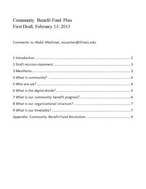 Community Benefit Fund Plan First Draft, February 13, 2013