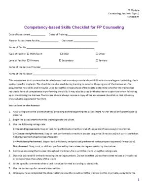 Competency-Based Skills Checklist for FP Counseling