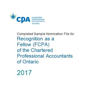 Completed Sample Nomination File for Recognition As A