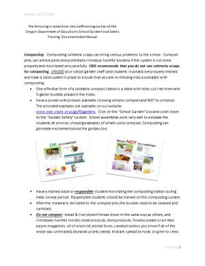 Composting: Composting Cafeteria Scraps Can Bring Serious Problems to the School. Compost
