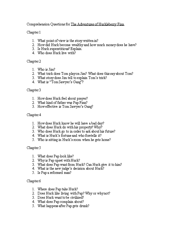 Comprehension Questions for the Adventures of Huckleberry Finn