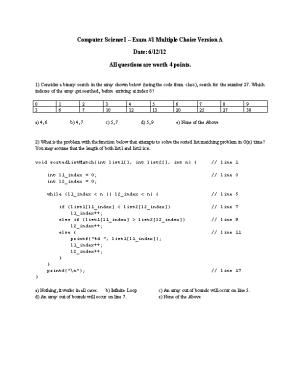 Computer Science I Exam #1 Multiple Choice Version A