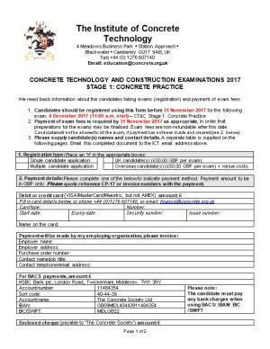 Concrete Technology and Construction Examinations 2017