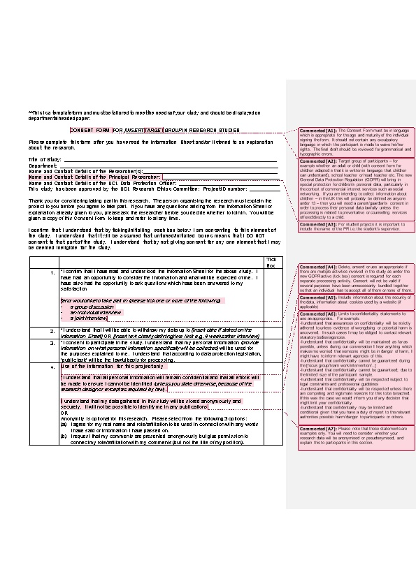 Consent Form A1 for Insert Target A2 Group in Research Studies