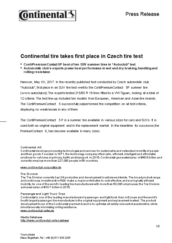Continental Tire Takes First Place in Czech Tire Test