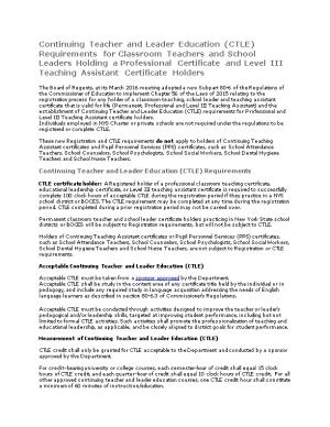 Continuing Teacher and Leader Education (CTLE) Requirements for Classroom Teachers And