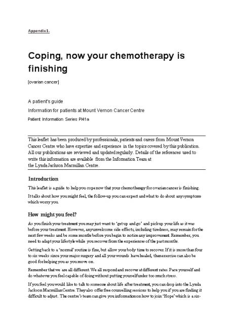 Coping, Now Your Chemotherapy Is Finishing
