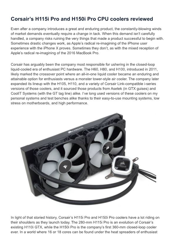 Corsair'S H115i Pro and H150i Pro CPU Coolers Reviewed