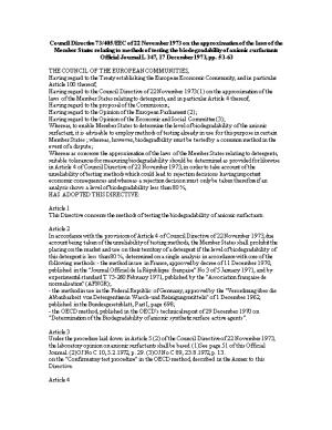 Council Directive 73/405/EEC of 22 November 1973 on the Approximation of the Laws of The