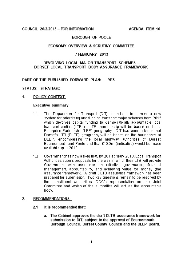 Council26/2/2013 for Information Agenda Item16