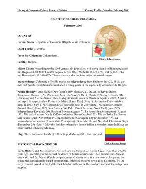 Country Profile: Colombia