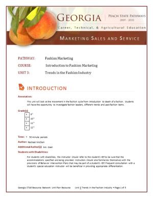 COURSE: Introduction to Fashion Marketing