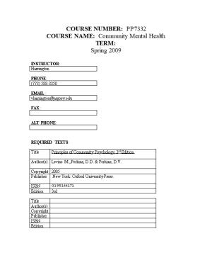 COURSE NAME: Community Mental Health